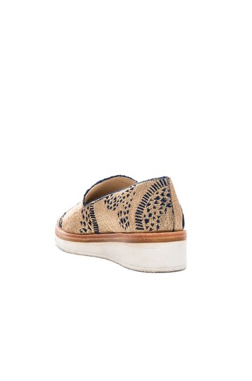 Free People Loafer Espadrille Metallic Gold Wedges Image 1