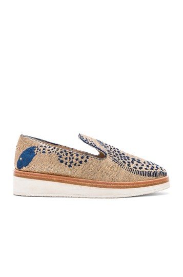 Free People Loafer Espadrille Metallic Gold Wedges