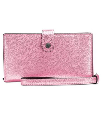 Preload https://item2.tradesy.com/images/coach-wristlet-phone-wallet-fit-iphone-78-metallic-pink-leather-clutch-23340791-0-0.jpg?width=440&height=440