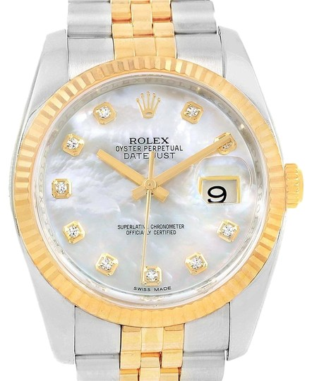 Preload https://item1.tradesy.com/images/rolex-mother-of-pearl-datejust-36-steel-yellow-gold-mop-diamond-116233-box-card-watch-23340830-0-3.jpg?width=440&height=440
