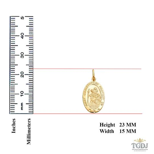 Top Gold & Diamond Jewelry 14K Yellow Gold St. Christopher Religious Pendant
