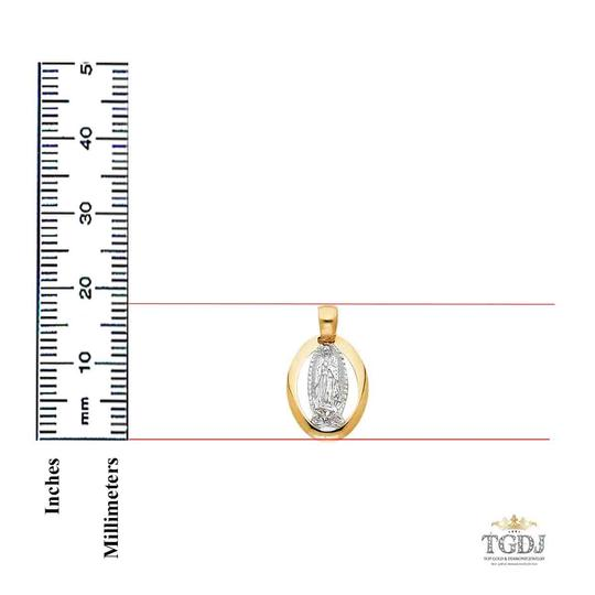 Top Gold & Diamond Jewelry 14K Yellow White Gold Guadalupe Religious Pendant Image 2
