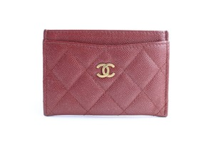 Chanel Card Case Card Holder Card Wallet Card Pouch Organizer Dark Red Clutch