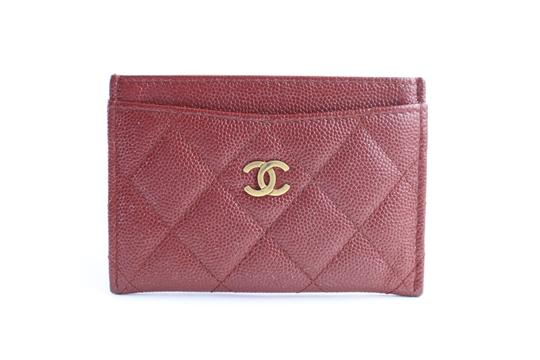 Chanel Card Case Card Holder Card Wallet Card Pouch Organizer Dark Red Clutch Image 0