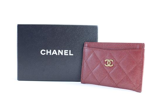 Chanel Card Case Card Holder Card Wallet Card Pouch Organizer Dark Red Clutch Image 1
