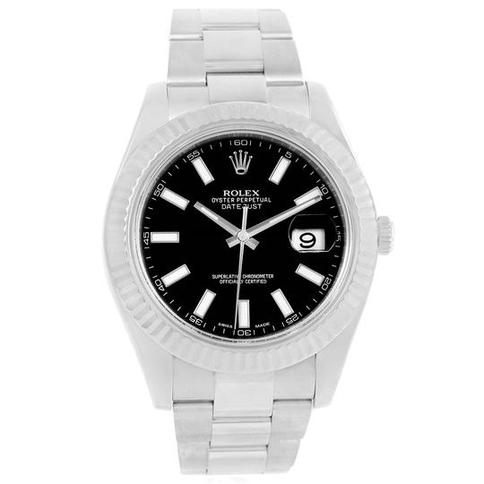 Rolex Rolex Datejust II Steel White Gold Black Dial Mens Watch 116334 Box