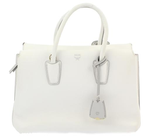Preload https://item2.tradesy.com/images/mcm-medium-milla-white-leather-satchel-23340971-0-2.jpg?width=440&height=440