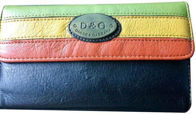 Item - Continental Wallet Black Red Brown & Green Leather Wristlet