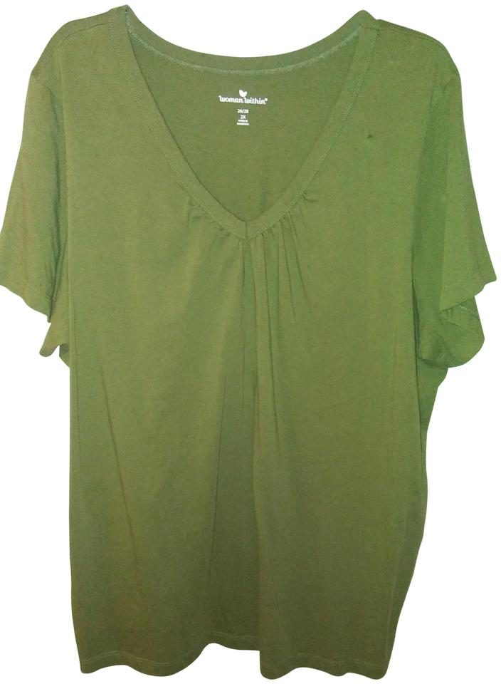 ff72efb108c Woman Within Olive Green V-neck Tee Shirt Size 26 (Plus 3x) - Tradesy