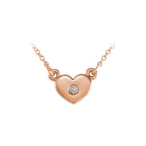 Marco B 14K Rose Gold Cubic Zirconia Heart Pendant Necklace