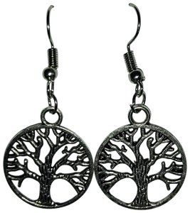 Unbranded Antique Silver Tree of Life Dangle or Drop Earrings