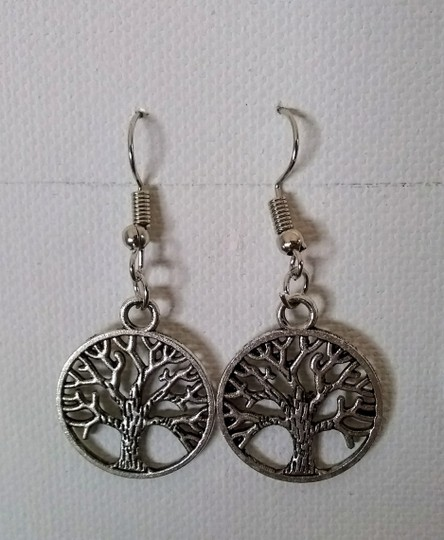 Unbranded Antique Silver Tree of Life Dangle or Drop Earrings Image 1