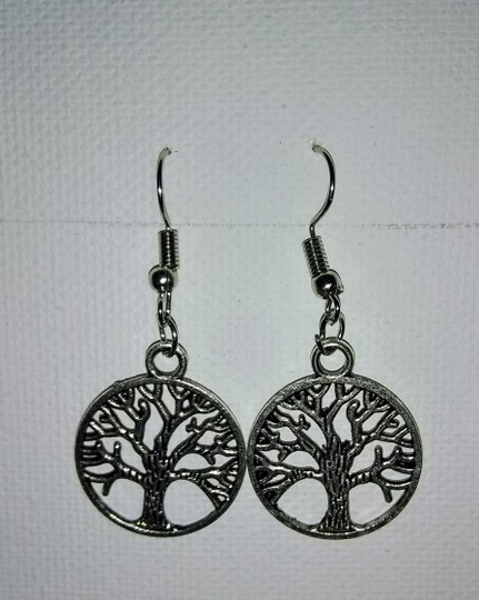 Unbranded Antique Silver Tree of Life Dangle or Drop Earrings Image 2