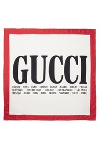 Gucci Brand New - Cities Print Silk Scarf