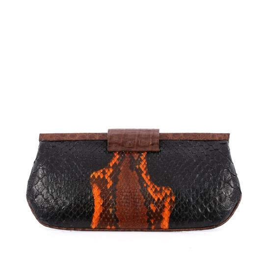 Nancy Gonzalez Leather black and orange Clutch