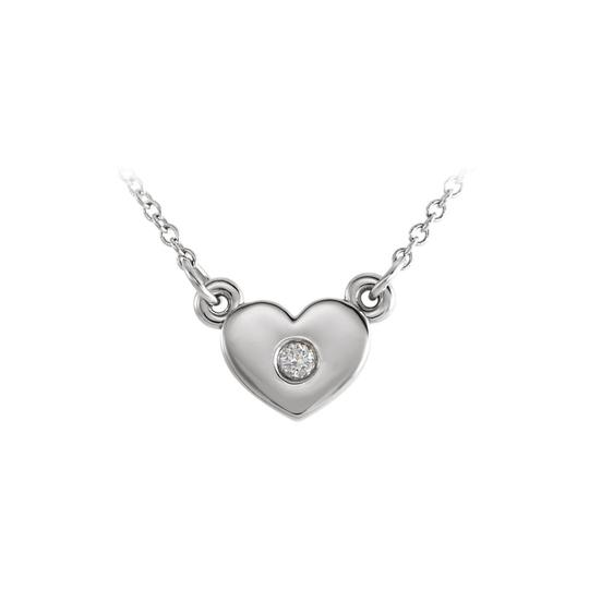 Marco B 14K White Gold Cubic Zirconia Heart Necklace Free Chain