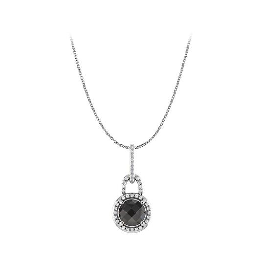 Preload https://img-static.tradesy.com/item/23341074/black-white-gold-onyx-cubic-zirconia-round-pendant-14k-necklace-0-0-540-540.jpg