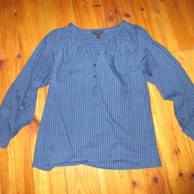 J.Crew Gauze Cotton Indigo Popover Top Blue with white stripes
