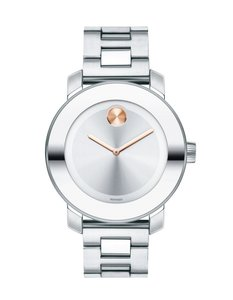 Movado Stainless Bracelet Silver Rose Gold Dial Bold 3600084 Swiss