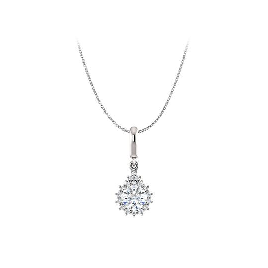 Marco B Cubic Zirconia Round Pendant Free 18inch Long Chain