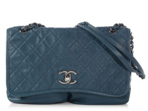 Chanel  sold On Ebay  Part Quilted Pocket Flap Blue Leather Cross ... 1d1077ce33