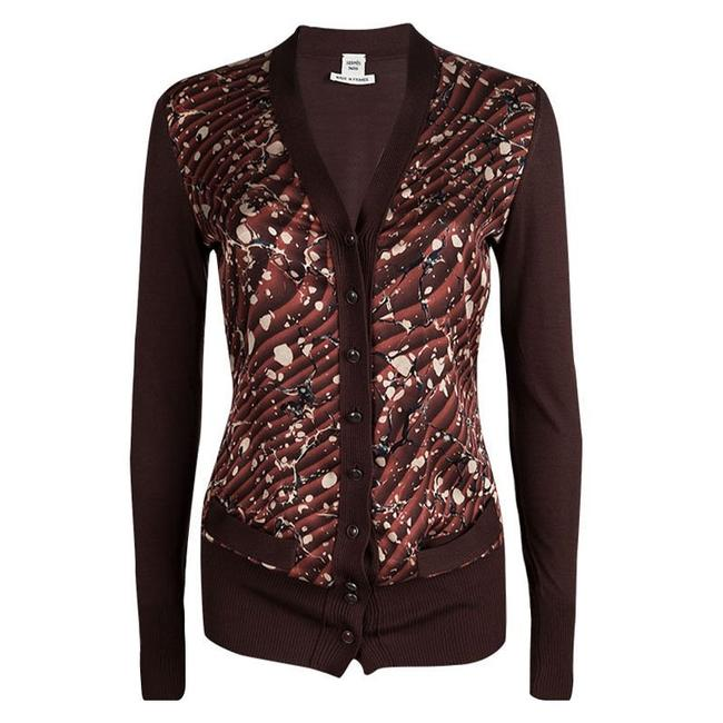 Preload https://img-static.tradesy.com/item/23341167/hermes-trim-printed-silk-ribbed-cardigan-s-brown-sweater-0-0-650-650.jpg