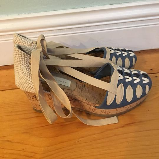 Stella McCartney blue, beige and navy woven lacing Wedges