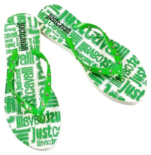 Preload https://item2.tradesy.com/images/just-cavalli-green-new-embellished-thong-flip-flops-logo-print-summer-beach-sandals-flats-size-us-10-23341196-0-2.jpg?width=440&height=440