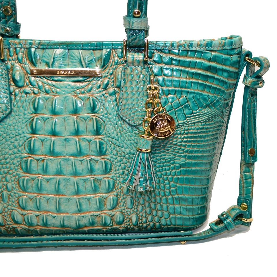 Satchel Leather Mini Turquoise Asher Brahmin Croco Crossbody wHxqYvH7T