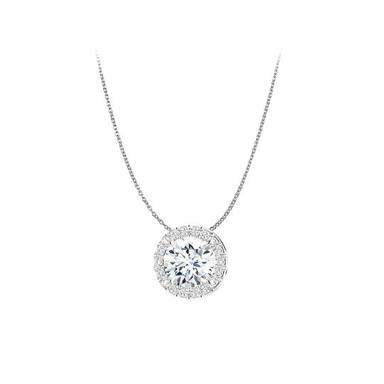 Preload https://item1.tradesy.com/images/white-cz-halo-style-pendant-in-14k-gold-free-18in-chain-necklace-23341220-0-0.jpg?width=440&height=440