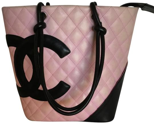 Preload https://item2.tradesy.com/images/chanel-cambon-pinkblack-neiman-marcus-pink-calfskin-leather-tote-23341276-0-1.jpg?width=440&height=440