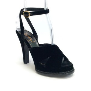 Saint Laurent Black Velvet Platforms