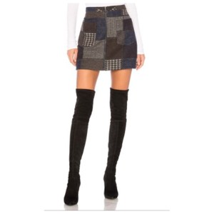 BCBGMAXAZRIA Mini Skirt Multi Black Grey