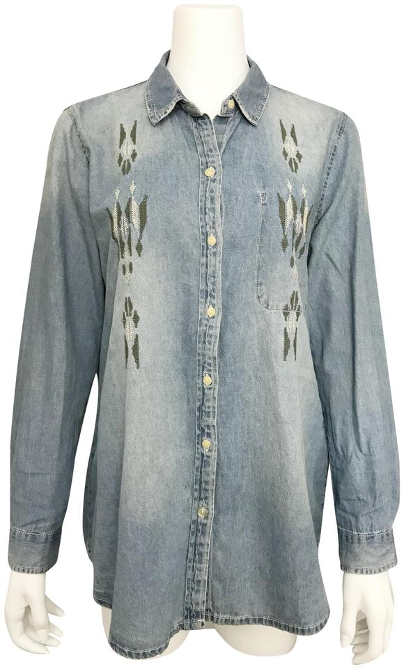 Zara Blue Trafaluc Chambray Shirt Embroidered Button Front Long Sleeve  Button-down Top a22b98bb0