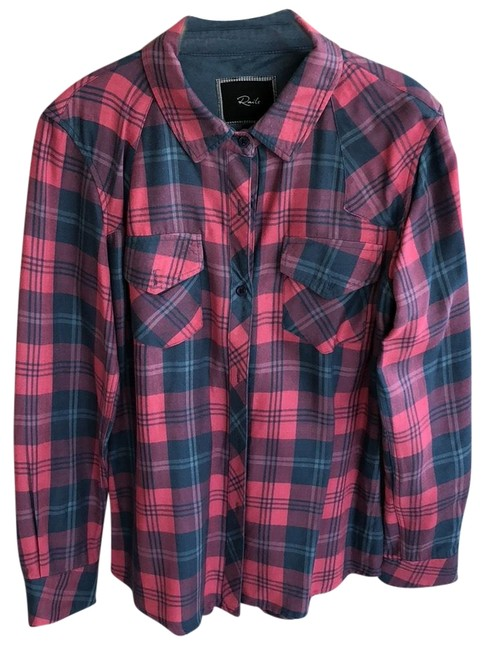 Item - Pink Navy Blue Sleeve Plaid Button-down Top Size 4 (S)
