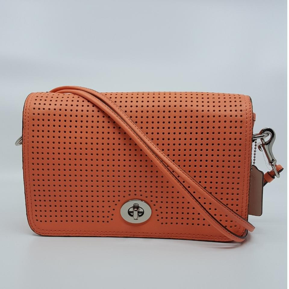 Coach Penny Legacy Perforated Penelope Shoulder Purse 23404 Coral ... 7bb1bd21fc636