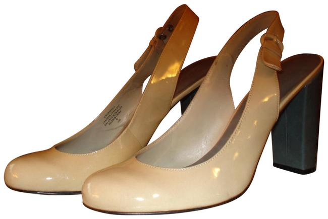 Item - Ivory and Gray Patent Leather Slingback Pumps Size US 10 Regular (M, B)