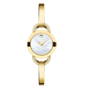 Movado Plated Bangle Diamond Bracelet Mother of Pearl Dial 0606889 Watch