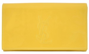 Saint Laurent Ysl Patent Yellow Clutch