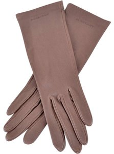 Burberry NEW BURBERRY $325 EMBOSSED LOGO TAN LAMBSKIN LEATHER STRETCH Gloves 7