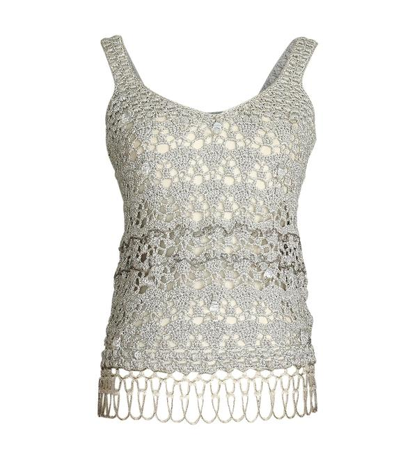 Item - Silver Crochet Faceted Large Crystals Beading Detail Tank Top/Cami Size 8 (M)