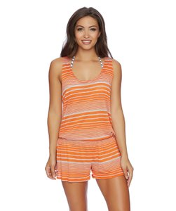 Splendid Splendid Sun-Sational Women's Cover Up Romper, Grey/Orange, S