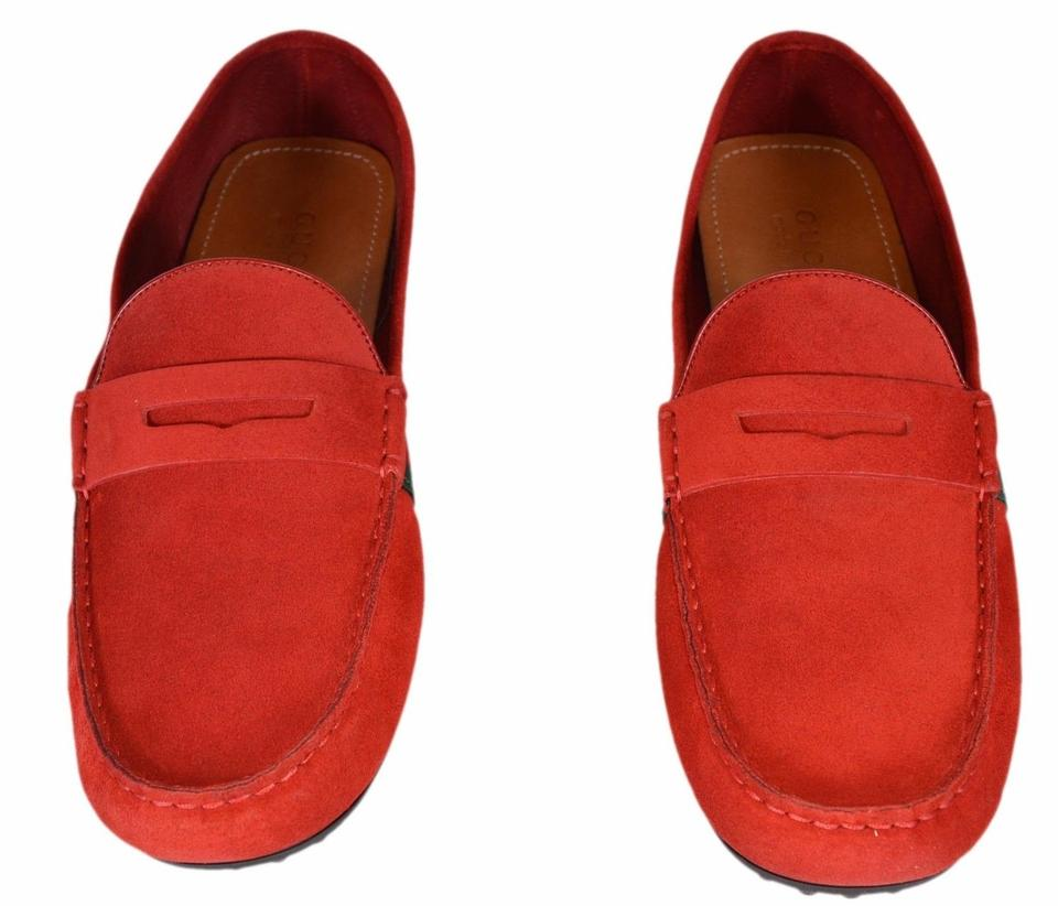 a56b9414ea5 Gucci Red New Men s 407411 Suede Green Web Drivers Loafers 10.5g Flats Size  US 11.5 Regular (M