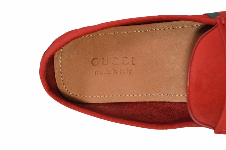 430435dec28 Gucci Red New Men s 407411 Suede Green Web Drivers Loafers 10.5g ...