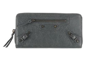 Balenciaga Balenciaga Classic Continental Zip Around Moto Wallet Grey