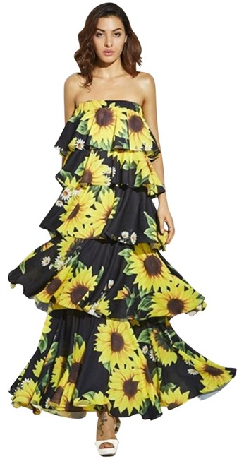 Item - Multicolor Off Shoulder Sunflower Print Backless Women's Vacation Layered Long Casual Maxi Dress Size 8 (M)
