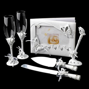 Elegance by Carbonneau White Classic Butterfly Accessory Set Reception Decoration