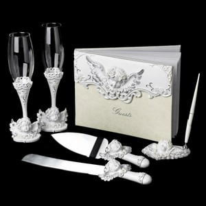 Elegance by Carbonneau White Angel Matching Accessory Set Reception Decoration