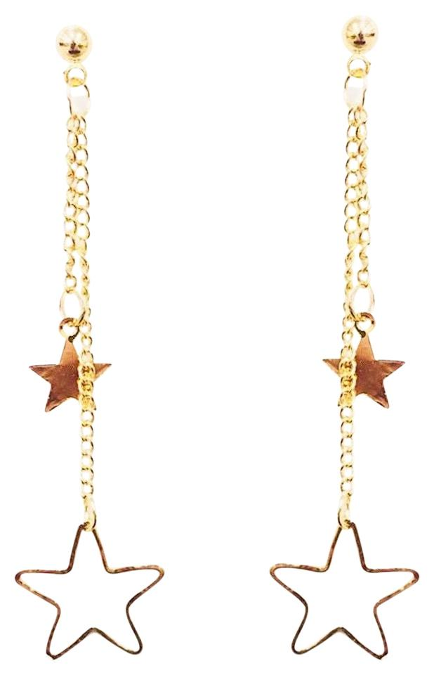 Rebecca Minkoff Gold Double Star Chain Dangling Drop Earrings