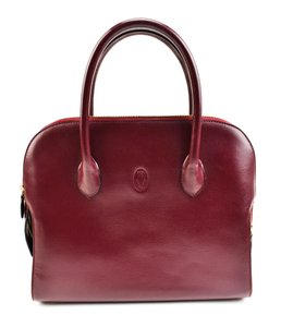 Cartier Leather Logo Tote in Red Bordeaux